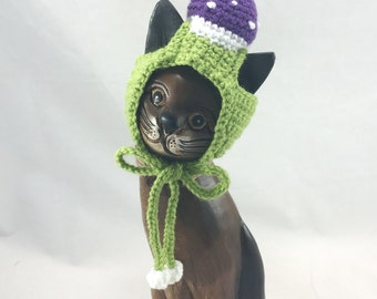 Pet hat, party kitten hat, small dog hat, plush animal hat, bear hat, green purple white