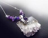 Amethyst druzy crystal, silver boho necklace, OOAK,crystal slice, beaded amethyst necklace, purple necklace, gypsy necklace, raw amethyst