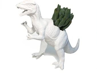 Up-cycled White Dilophosaurus Dinosaur Planter