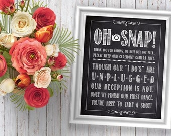 Unplugged Wedding Sign - Rustic Unplugged Wedding Decorations - Chalkboard Unplugged Ceremony Decor - No Cellphones Rustic Wedding Sign