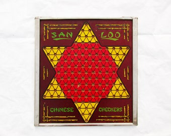 A 'San Loo' Chinese Checkers Game Board - Paperboard With Metal Frame - Marbles Slide Into Self-Storage - Metal - All Marbles Included