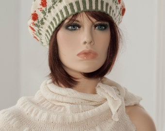 Hand knitted beret, tam, fair isle, with the motifs of roses, cream, green, ten colors, for women, for girls, spring, fall, winter, woolen.