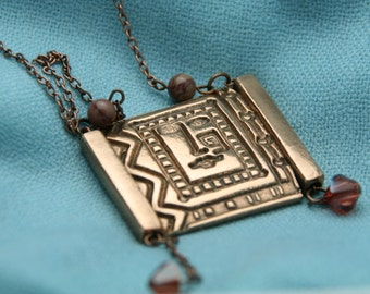 Tribal Print Necklace Pink Bronze