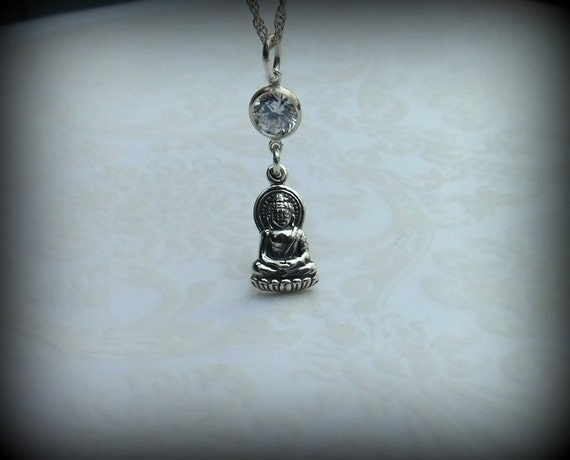 Sterling silver Buddha necklace, yoga necklace, dharma, personalized necklace
