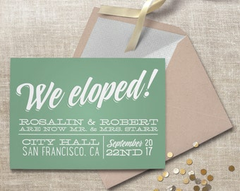 Elopement announcement. Surprise courthouse wedding announcement, retro and vintage style. #62
