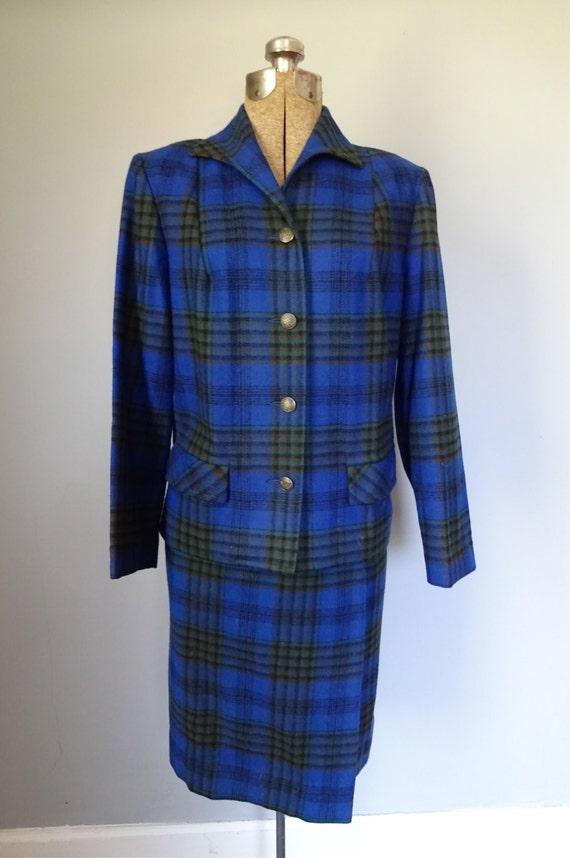 1950s pendleton wrap skirt suit bright royal blue plaid wool