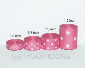 Hot Pink Polka Dot Grosgrain Ribbon 5 Yards (You choose the width: 3/8, 5/8, 7/8 or 1.5 Inch)