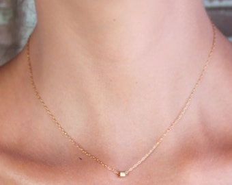 Gold necklace, tiny gold necklace, wedding jewelry, bridesmaid jewelry, petite necklace , wedding necklace - 10031