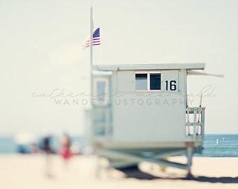 Santa Monica Photography, California Beach, Lifeguard, Los Angeles Photo,  California Print, Pastel Art,  Bohemian Home Decor, Large Art