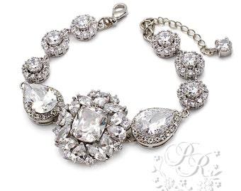 Wedding Bracelet Platinum plated Zirconia Rhinestone Bracelet Wedding Jewelry Bridal Bracelet Bracelet Wedding Accessory Zuma Riz