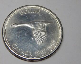 Canada One Dollar Silver coin, 1867-1967 Centennial, Canada Goose (2), Canada's Birthday