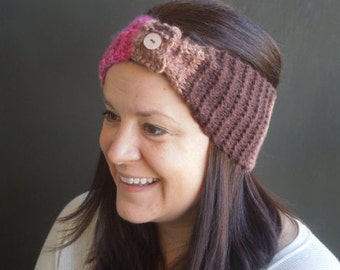 Ear Warmer Headband, Knit Headband, Turban, Earwarmer, Winter Headband / Pink Brown
