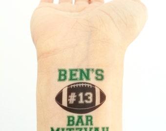 Custom Bar Mitzvah Temporary Tattoos- Football