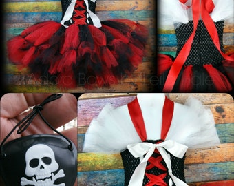 Made to order kids girls Halloween pirate wench petti skirt style tutu dress outfit w EYE PATCH photography prop Halloween dress up costume