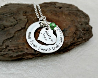 Personalized Mom Necklace - Mommy Jewelry - Grandma - Your First Breath Took Mine Away - Hand Stamped Necklace - Custom Kids Names Necklace