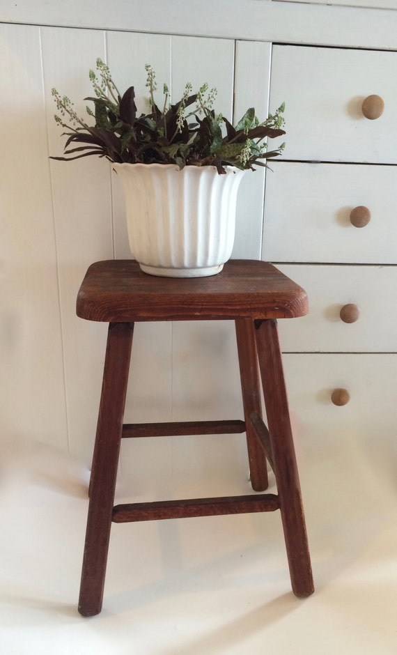 Farmhouse Stool Wooden Stool Primitive Cabin Furniture Stool