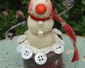 Vintage Washer Can with Paper Clay Snowman