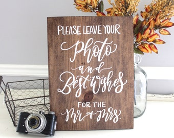 Photo Guest Book Sign, Rustic Wedding Signs, Guest Book Sign, Wooden Wedding Sign | 15x11