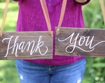 Wedding Thank You Signs, Rustic Wooden Wedding Signs, Chair Signs, Photo Prop Signs, The Paper Walrus
