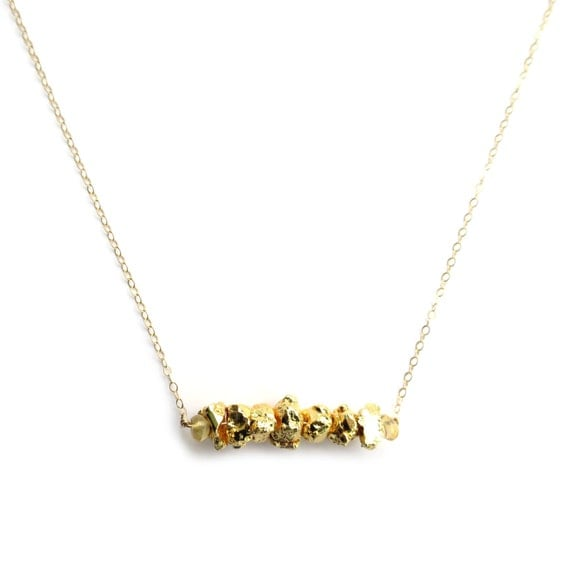 Pyrite Necklace, Gold Bar Necklace, Fools Gold Necklace, Gold Nugget Necklace, 14k Gold Fill Necklace, Dainty Gold Necklace, Thin Gold Chain