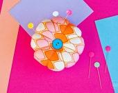 Flower Pin Cushion - Multi Coloured Orange