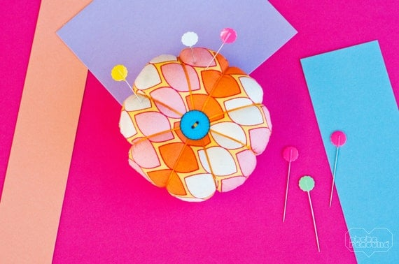 Flower Pin Cushion - Multi Coloured Orange