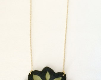 Leather and Suede Leaf Necklace - Green and Black