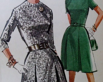 Vintage 1960s McCall's 6525  Sewing Pattern Misses and Juniors Pleated Dress   Size 14 Bust 34 **Epsteam