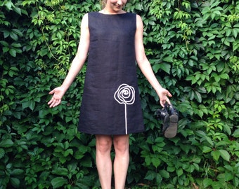 Black Linen Dress  - Small black dress - Eco clothing