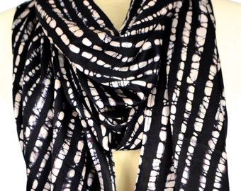 Silk batik scarf.Hand made silk scarf.Black & off white silk scarf.Long scarf