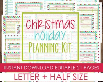 50% OFF Christmas Planner, Holiday Planner, Printable Christmas Planner Kit, Letter Size + Half Size Included, 21 Pages, INSTANT