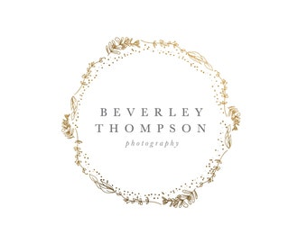 Premade Hand drawn Sketched Wreath Logo -  Photography Logo and Watermark Design - Photography or Boutique Logo  - Business Branding