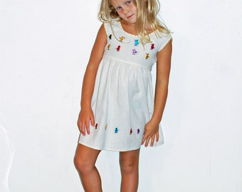 Girls Dress Mexican Huichol Embroidered Cotton Hippie Boho Off White Birds Chicks Size 4 - 5T