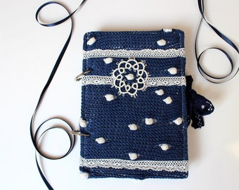 Handmade Notebook With Snowflake, White, Blue,  Tatted Snowflake, Hand Knitted Cover,Home And Living, Books, Gift Ideas,READY TO SHIP,