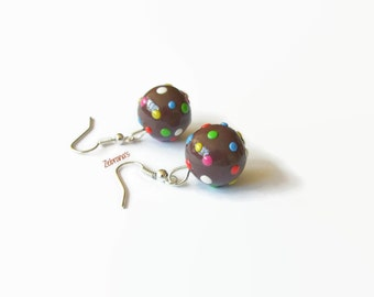 Candy Crush disco ball earrings (handmade Candy Crush jewelry earrings brown dots kawaii stocking stuffer geeky polymer clay Fimo game)