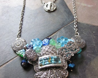 Blue Markasite Collage Necklace