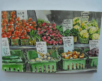 Original watercolour, pen and ink, sketch, painting, urban sketching, 5 X 8, St. Jacobs Farmers Market 4