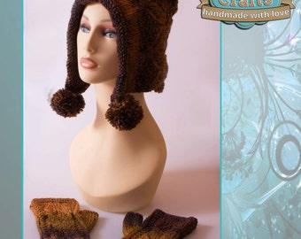 Hand Knitted Bobbles Hat & Wristwarmer Set