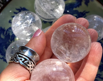 Beautiful High Vibration Ice Water Clear Quartz Medium Crystal Spheres - Intentional Manifesting, Psychic Clearing, Auric Balance