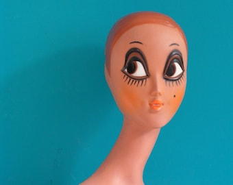 RESERVED - Vintage TWIGGY Mannequin Head  Big Eye 1970s Shop Display Collectible Mod Retro