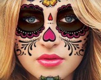 Sugar Skull Temporary Face Tattoo - Hearts & Flowers - Day of the Dead - Calavera - Halloween Costume