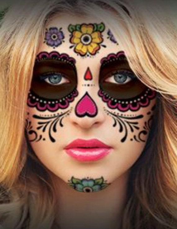 Sugar skull temporary face tattoo hearts by papercitadel for Halloween temporary tattoos