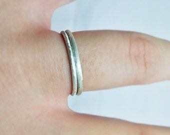 Stardust Stacking Ring Argentium Silver Set of Two Rings Non-Tarnish