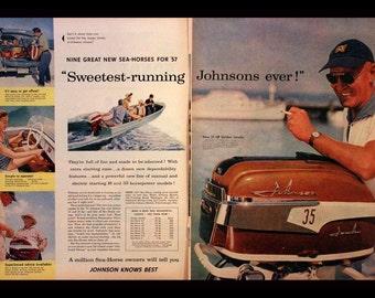 1956 Johnson Boat Motors Ad - Double Page - Sea Horse - Wall Art - Home Decor - Retro Food & Drink Advertising