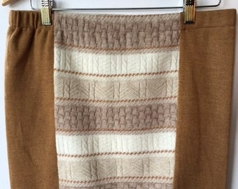 Wool skirt, Wool Bum Warmer, Women's large mini skirt made from a two brown and beige sweaters