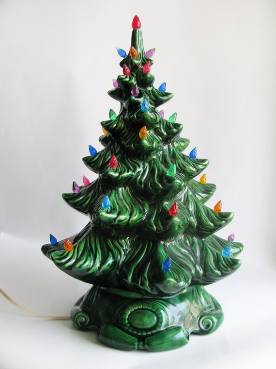Vintage Ceramic Christmas Tree 16 Tall Dark Green With
