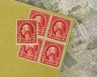 Ten 2c George Washington .. Vintage Unused US Postage Stamps .. American History, Colonial America, Revolutionary War