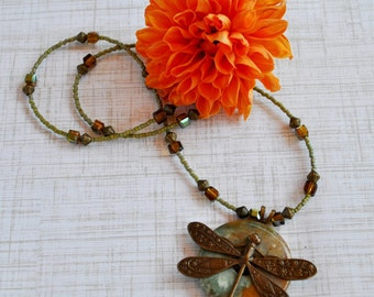 Autumn colors Statement necklace with jasper pendant and brass dragonfly, Dragonfly necklace