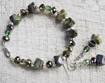 Green Dragon blood jasper Bracelet set with crystals and sterling silver, gemstone bracelet, forest green bracelet