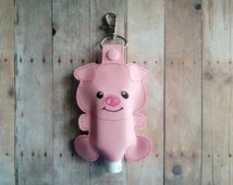 Pig Hand Sanitizer Holder- Pink Embroidered Vinyl with Snap, Great for Backpacks, Bags and Purses, Made in USA, Quick Ship, Animal Case